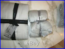 2 West Elm Washed silk king shams platinum quilted New