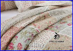 3PCS Queen 100% Cotton Patchwork Quilt Bedspread Set Shabby Chic Country Floral