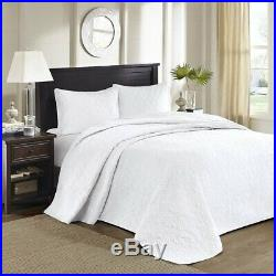 3pc Solid White Quilted Bedspread Set AND Decorative Pillow Shams ALL SIZES