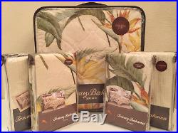 5 PC Tommy Bahama Birds of Paradise Full / Queen Quilt Pillow Shams Set