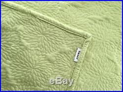 5 Pc Set DKNY King Quilt Vintage Floral LIME, 2 Euro Shams & 2 Company C Pillows