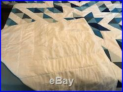 Blue And White Queen Size Star Quilt With Matching Pillow Shams