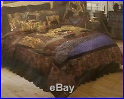 DONNA SHARP LITTLE CABIN KING QUILT & 2 PILLOW SHAMS Rustic Lodge Country