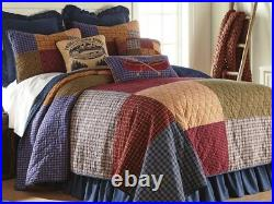 Donna Sharp Lakehouse QUEEN Quilt Lodge Cabin Rustic Country Patchwork Blue Tan