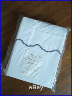 Embroidered 100% Cotton Sateen Queen 4 Sheet Set White with Slate Grey Edges