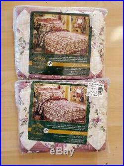 Glenda Turley Rose Rhapsody Set Of 2 Quilted Pillow Shams New