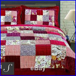 Luxury 100% Cotton Red Burgundy Velvet Real Patchwork Quilted Bedspread Sets