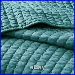 Luxury Solid Teal Blue Coverlet Quilt AND Decorative Pillow Shams