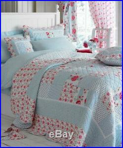 NEW CATHERINE PATCHWORK QUILT, POLKA DOT DUVET COVER & TWO PILLOWSHAMS Double
