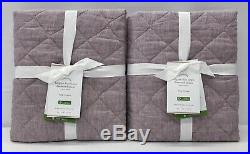NEW Pottery Barn Belgian Flax Linen Diamond Quilted KING ShamsSET OF 2Lavender