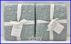NEW Pottery Barn Belgian Flax Linen Handcrafted KING ShamsSET OF 2Mineral Blue