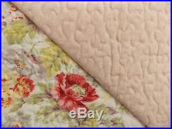 New Laura Ashley Arundel Blush Floral King Quilt & Two Pillow Shams