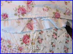 New Shabby Chic Cottage Patchwork Floral Quilt With 2 Matching Pillow Shams