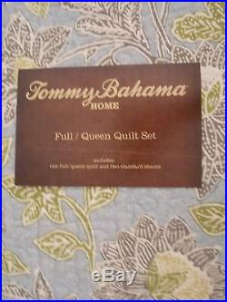 New Tommy Bahama Tropical Cat Island Blue Full Queen Quilt & Two Pillow Shams