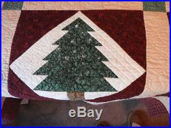 New Twin Bed Hand Made Quilt with Pillow Sham Moose and Trees Red Green #2