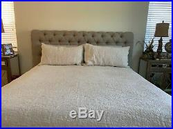 POTTERY BARN BELGIAN LINEN FLORAL STITCH QUILT- with 2 KING PILLOW SHAMS-NATURAL