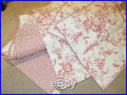 Pottery Barn GISELLE TOILE Full/Queen Quilted Comforter & 3 Pillow Shams Red