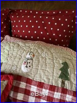Pottery Barn Kids Christmas Quilt Set With 6 Pieces Including 4 Shams And Pillow
