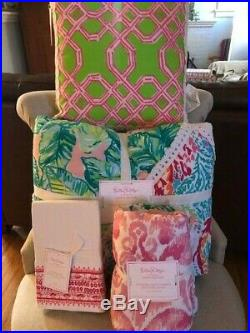 Pottery Barn Kids Lilly Pulitzer Quilt Euro Sham Pillow Printed Patchwork