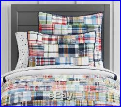 Pottery Barn Kids Madras Plaid Full/Queen Quilt and Two Standard Shams