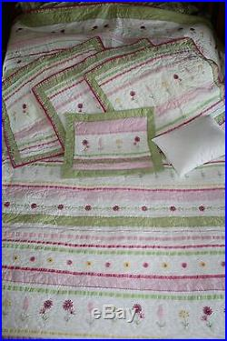 Pottery Barn Kids Ribbon Full Queen Quilt Shams Pillow Set Embroidered Flowers