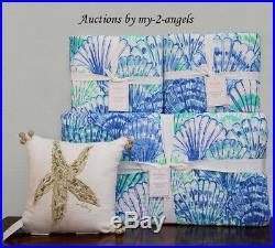 Pottery Barn LILLY PULITZER OH SHELLO King Quilt + King Shams + Deco Pillow BLUE