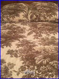 Pottery Barn MATINE TOILE Brown King Reversible Quilt With 2 Euro Sham Covers