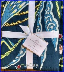 Pottery Barn Rita Bird Reversible King Size Shams Quilted Blue Ivory