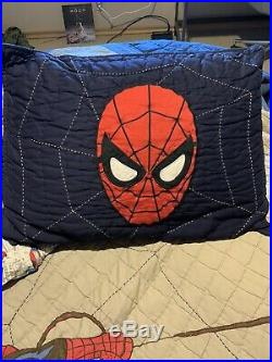 Pottery Barn Spiderman Quilt, Sheets, Pillow Case And Sham Set. Twin Sz Body
