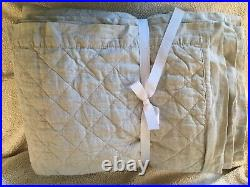 Pottery barn Belgian Flax linen diamond full queen Quilt color Flax Natural