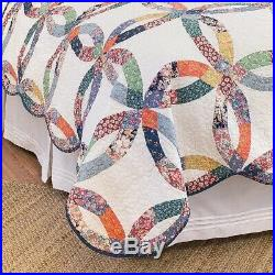Quilt Set Cotton Bed Cover King Size Reversible Wedding Ring Design Pillow Shams