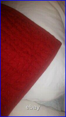 S/2 pottery barn red pick stitch quilt euro pillow sham Christmas holiday