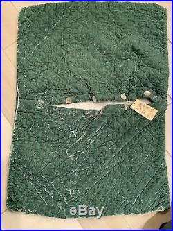 Set Of 2 Bella Notte Linens Silk Velvet Deluxe Euro Quilted Sham Thyme NWT 25x35