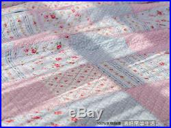 Shabby Chic Cottage Floral Blue Quilt Throw Blanket Coverlet Bedspread Set