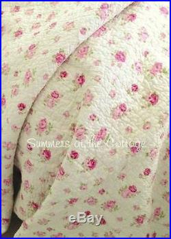 Shabby Cottage Chic Pink Roses Wine Rosebuds King Quilt & King Pillow Shams