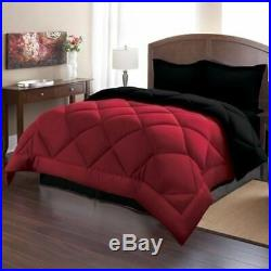 Solid Burgundy Red Black Quilted 3 pc Comforter Set Twin Full Queen King Bedding
