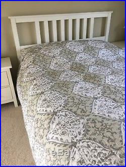 Super King Decorative 100% Cotton Quilted Bedspread Throw & 2 Pillow Shams New