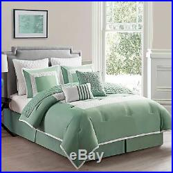 Twin Full Queen King Bed Sage Green White Quilted 9 pc Comforter Set Bedding